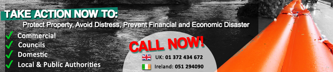 Call 01 372 434 672 for water-filled Inflatable Flood Barriers